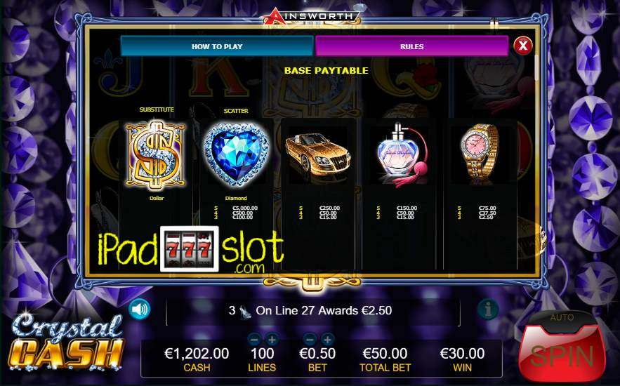 Crystal cash slot machine online ainsworth lottery